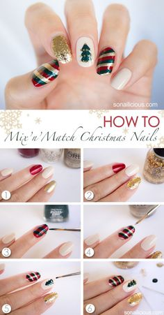 The great thing about this Mix'n'Match Christmas nail art tutorial is that by learning how to do it, you'll be able to do almost any kind of Christmas nails Xmas Nails, Holiday Nails, Red Nails, Diy Christmas Nail Art, Christmas Nail Art Designs, Gold Christmas, Simple Christmas, Christmas Design, Christmas Holidays