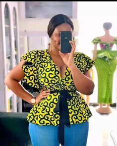 Short African Dresses, African Blouses, African Tops, Latest African Fashion Dresses, Ankara Fashion, Ankara Tops Blouses, Fashion Outfits, African Print Peplum Top, African Print Dress Designs
