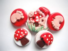 Button Baby Gnome polymer clay handmade buttons ( 5 ). $6.50, via Etsy.
