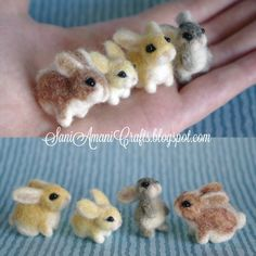 needle-felted bunny | Needle felted bunny family miniature Felt Bunny, Baby Bunnies, Bunny Rabbits, Needle Felting Tutorials, Felt Art, Felting Wool Animals, Felt Animals, Felted Wool Crafts, Felt Crafts