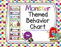 Monster Themed Behavior Clip Chart! This is a great classroom management tool featuring little monsters, school supplies and colorful polka dot backgrounds!