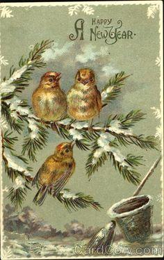 Vintage Happy New Year card Vintage Happy New Year, Happy New Year Cards, New Year Greeting Cards, New Year Greetings, Vintage Greeting Cards, Vintage Christmas Cards, Christmas Images, Vintage Holiday, Happy Year