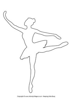 Here's a beautiful outline template of a ballerina for your craft projects! We use this template to make our twirly ballerina. Ballerina Silhouette, Ballerina Art, Ballerina Birthday, Bunting Template, Applique Templates, Heart Template, Owl Templates, Crown Template, Flower Template