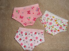 """American Girl Doll Panties, Fits any 18"""" doll, All 3 Panties/Underwear for your American Girl Doll. $11.00, via Etsy."""