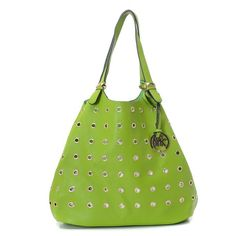 Michael Kors Large Colgate Grommet Pebbled Leather Tote Green