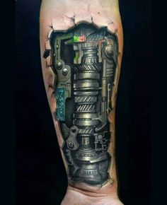 Do you love tattoos? What kind of tattoos do you like? Would you get sick of these biomechanical tattoo designs? Well, when it comes to tattoos, there is a lot it than that that meets the eye. Biomechanical Arm Tattoo, Biomech Tattoo, Cyborg Tattoo, Robotic Arm Tattoo, Tattoos Masculinas, Body Art Tattoos, Sleeve Tattoos, Tattoos For Guys, Cool Tattoos