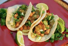 I'm avoiding tofu these days, but these tofu tacos are da bomb!  A cross between Thai and Baja style, they could be easily substituted with chicken or fish!