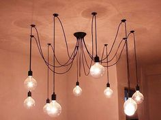 10 Light Bulb cluster ceiling lamp in black