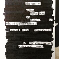 Be who you are without some invented persona. @makeblackoutpoetry #oldvogue #blackoutpoetry #poeticconfession