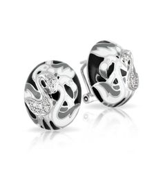 Flamingo Collection; Black and White Earrings; Hand-painted black, white, and grey Italian enamels with white stones set into rhodium-plated, nickel allergy-free, 925 sterling silver.