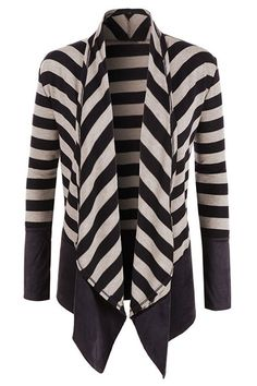 Chic Turn-Down Neck Long Sleeve Spliced Striped Cardigan For Women