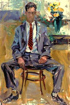 Elaine de Kooning :: Portrait of Fairfield Porter (1954)