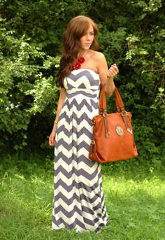 Strapless w chunky necklace   Chevron Print maxi dress. Would like with some yellow jewelry