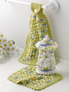Crochet - Holiday & Seasonal Patterns - Spring Patterns - Daisy Kitchen Set
