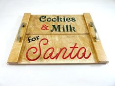 Cookies for Santa  Milk and Cookies Tray  Family by AllWoodToo  $34.99  Click on photo to BUY NOW!  What an awesome cookies and milk for santa tray. Start a new family tradition for Christmas Eve. #allwoodtoo creates a variety of nice quality products.  Click here: allwoodtoo.etsy.com to see more!