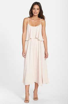 Paper Crown by Lauren Conrad 'Britton' Ruffled Tea Length Crepe Dress available at #Nordstrom