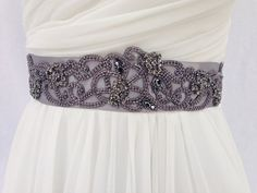 Beaded Bridal Sash-Wedding Sash In Grey With Crystals, Wedding Dress Sash…