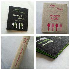 Kochbücher - Rezeptordner ♥ Hochzeitskochbuch ♥ Filz, A4 - ein Designerstück von fadenwuermchen_de bei DaWanda