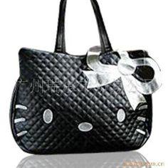 Hello Kitty quilt-y handbag in black or white. $22