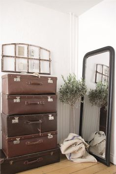 Rustic with old suitcases
