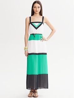 Milly Collection Colorblock Pleated Patio Dress | Banana Republic