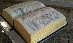 Bible cake. This would be cool to have with 1 Cor. 13 or the couple's favorite bible verse on it at the wedding.