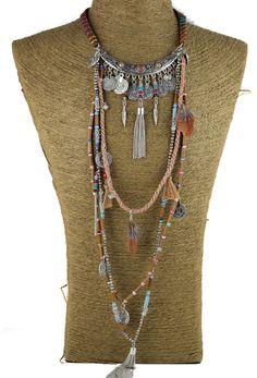 Gypsy Statement Vintage Long Necklace Ethnic Jewelry Boho Necklace Tribal Collar | eBay