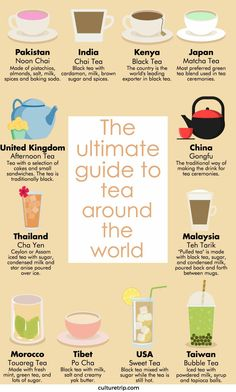The names and types of tea from around the globe. General, but good for the names of tea in different countries Tea Facts, Fruit Tea, Tea Blends, My Tea, High Tea, Drinking Tea, Afternoon Tea, Chefs, Sugar And Spice