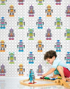 Decorate your tech-savvy darling's bedroom, playroom, or bathroom with peel and stick wallpaper in a stylishly kid-friendly robot print. Antiquated...