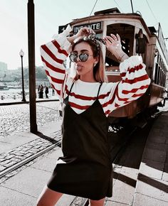 white and red striped oversized sweater + spaghetti strap black dress