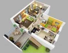 25 Three Bedroom House Apartment Floor Plans – Home Design Ideas 3d House Plans, Modern House Plans, Small House Plans, Studio Apartment Floor Plans, Apartment Plans, Bedroom Apartment, Bedroom Loft, Apartment Living, Living Rooms