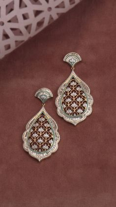 Diamond earrings with an intricate floral lattice Jewelry Design Earrings, Gold Earrings Designs, Gold Jewellery Design, Gold Jewelry, Antique Jewelry, Stud Earrings, Fine Jewelry, Diamond Jewellery Indian, Antique Jewellery Designs