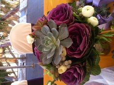 Kale and succulent bouquet by Butterfly Petals