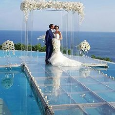 We are so in LOVE with beautiful bride storybook wedding at Pool Wedding, Wedding Ceremony Arch, Bali Wedding, Wedding Ceremony Decorations, Wedding Themes, Wedding Designs, Wedding Bride, Destination Wedding, Dream Wedding