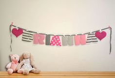 Wall art baby names Nursery wall letters Girl by BandanaShop