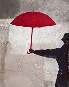 The Red Umbrella Paris Photography Print, Paris Streets, Urban Fine Art Print, Paris Travel Photography Decor Best Graffiti, Street Art Graffiti, Graffiti Artwork, Umbrella Art, Paris Wall Art, Paris Decor, Paris Photography, Travel Photography, Photography Tips