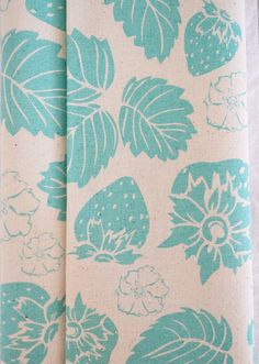 STRAWBERRY FIELD hand printed fabric panel by BlueberryAsh on Etsy, $10.00