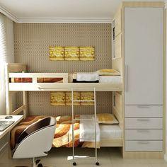 Quarto de irmãos - Foi usada uma parte interna do armário para criar nichos externos para serem usados como apoio para as camas e painéis aplicados na lateral como detalhe, caracterizando uma cabeceira.