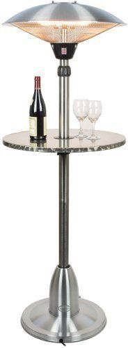 Andrew James Premium Adjustable Brushed Stainless Steel Electric Halogen Patio Heater 2100 Watts With Floating Table
