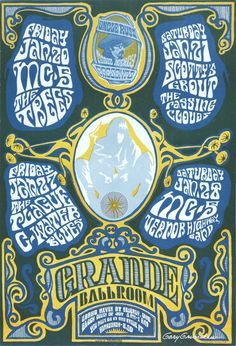 MC5 at the Grande Ballroom (1967) concert poster, signed by artist Gary Grimshaw