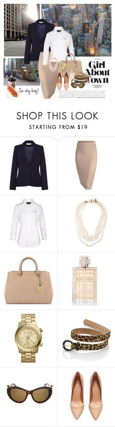 """""""Strictly business!"""" by dezaval ❤ liked on Polyvore featuring Damsel in a Dress, Polo Ralph Lauren, J.Crew, MICHAEL Michael Kors, Burberry, Michael Kors, Linda Farrow and H&M"""