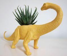 Recycled toy planters - genius!