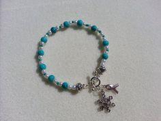 Myasthenia Gravis Teal Awareness and snowflake charm bracelet
