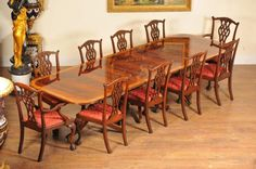 Regency Dining Set Pedestal Table & 10 Chippendale Chairs