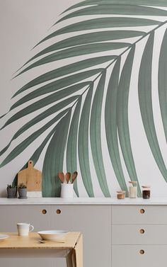 Create a cool minimalist style that's bang on trend with this fresh tropical palm leaves wallpaper, a contemporary mural. Palm Leaf Wallpaper, Feature Wallpaper, Cool Wallpaper, Beautiful Wallpaper, Kitchen Wallpaper Murals, Style At Home, Wall Design, House Design, Houses In France