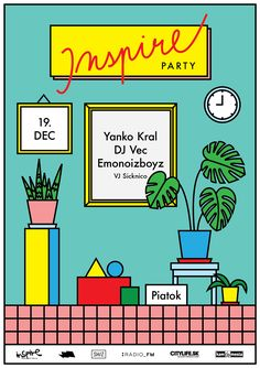 Vintage Graphic Design *Inspire Party* Posters on Behance - Party Poster, Poster On, Poster Frames, Graphic Design Posters, Graphic Design Inspiration, Poster Designs, Poster Ideas, Line Illustration, Digital Illustration