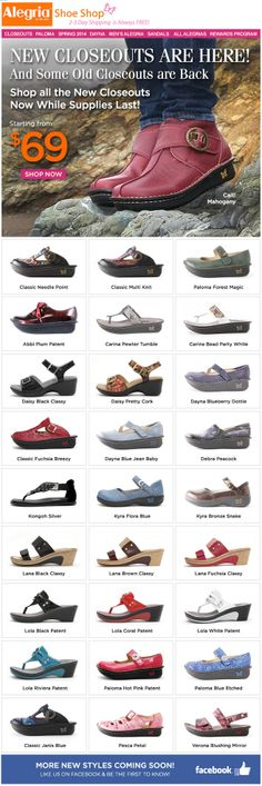 New #Closeouts are here--and so are some old! | Alegria Shoe Shop #AlegriaShoes