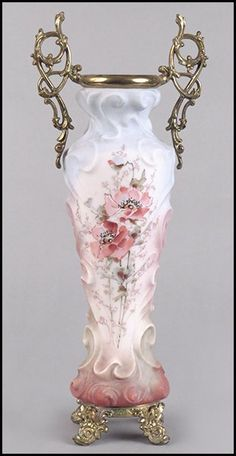 "Wavecrest Frosted Glass Vase Bearing Ormulu Handles And A Poppy Motif, Raised On Gilt Metal Feet - Stamped ""Wavecrest"""