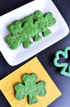 Chocolate Chip Four Leaf Clover Cut-Out Cookies