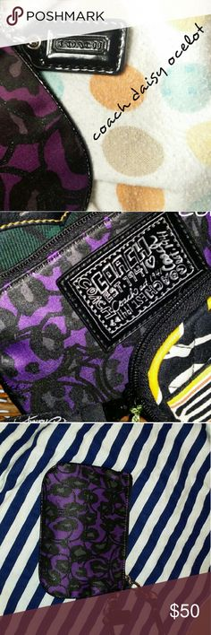 Authentic COACH Poppy Daisy Ocelot Lurex wristlet New without tags--This beautifully printed card holder/wristlet features purple lurex on jacquard material with patent leather trim, signature COACH hangtag, strap, and signature graffiti patch on the outside with perfect stitching in black. Has silver-toned hardware with a top zip closure. Grey sateen interior has one slip pocket and has no signs of use whatsoever. This is truly a collectible and is as beautifully designed as it is unique…